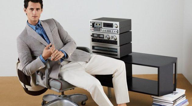 Garrett Neff hits the office in smart styles from Pedro del Hierro.