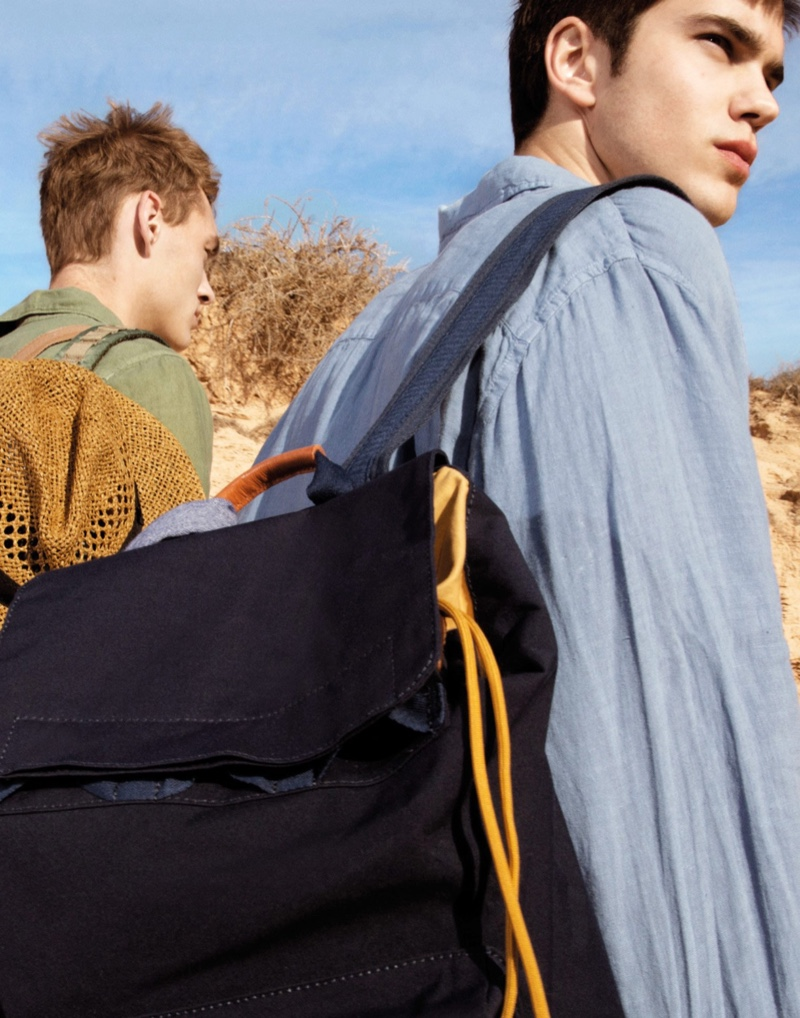 Sporting backpacks, Dani van de Water and Sam Steele connect with Pepe Jeans for spring.