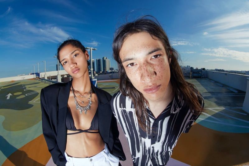 Aiden Curtiss and Trystin Valentino rock Pull & Bear's spring Urban collection.