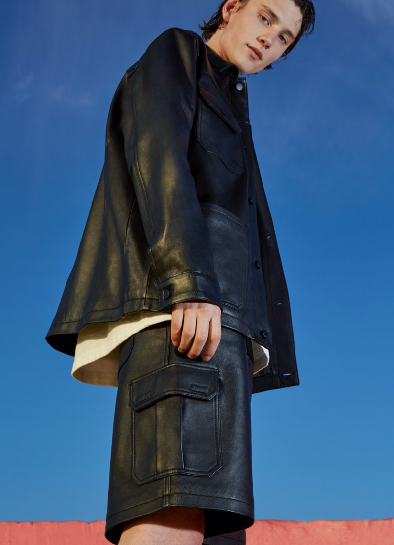 Wellington Grant dons a faux leather look from Pull & Bear's spring Urban collection.