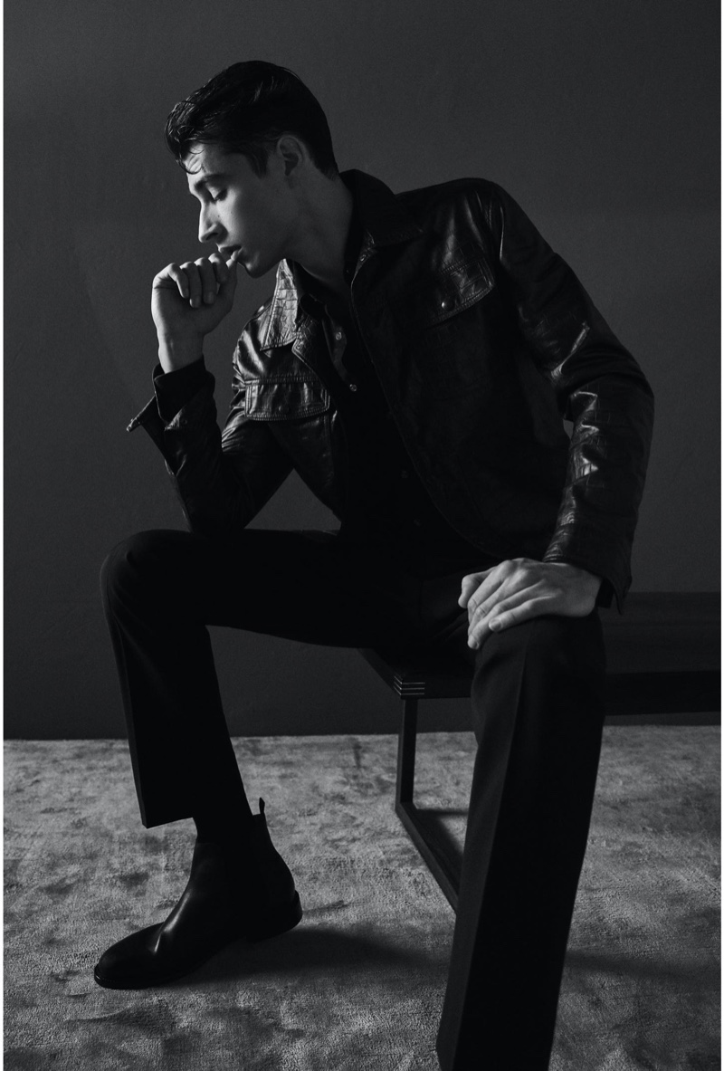 French model Adrien Sahores sports a leather jacket for Reiss' spring-summer 2020 campaign.