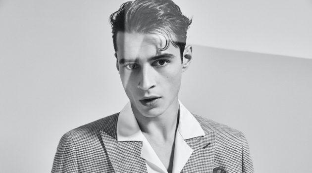 Adrien Sahores dons retro-inspired tailoring for Reiss' spring-summer 2020 campaign.