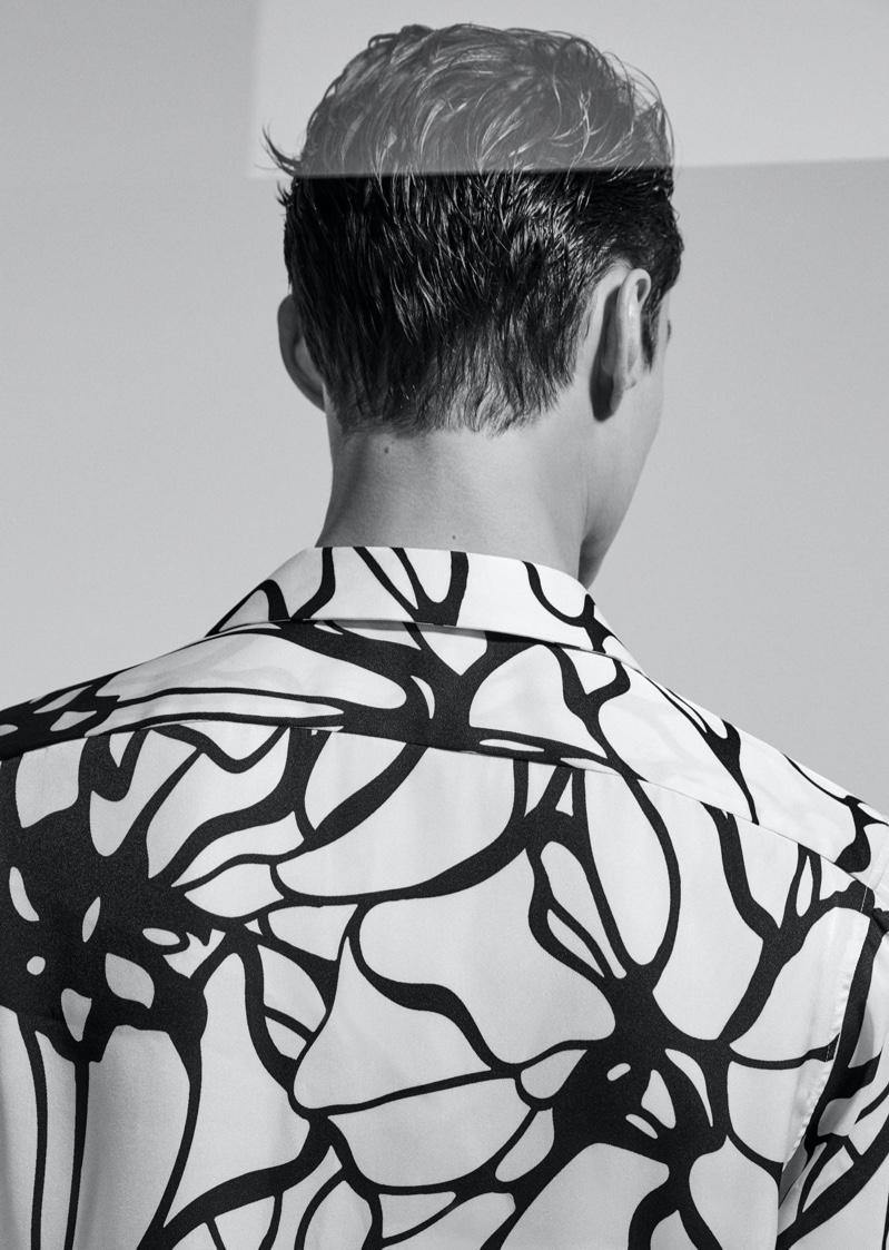 Donning a graphic shirt, Adrien Sahores makes an appearance in Reiss' spring-summer 2020 campaign.