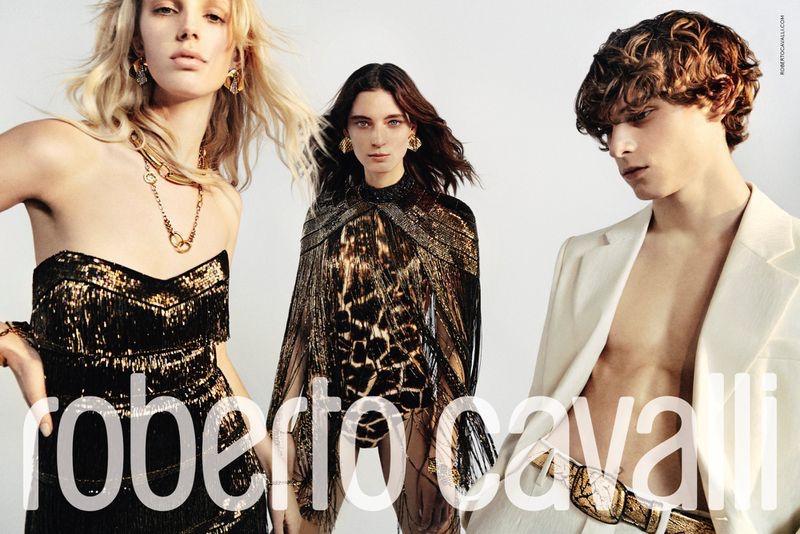 Models Jessie Bloemendaal, Ansley Gulielmi, and Serge Sergeev star in Roberto Cavalli's spring-summer 2020 campaign.