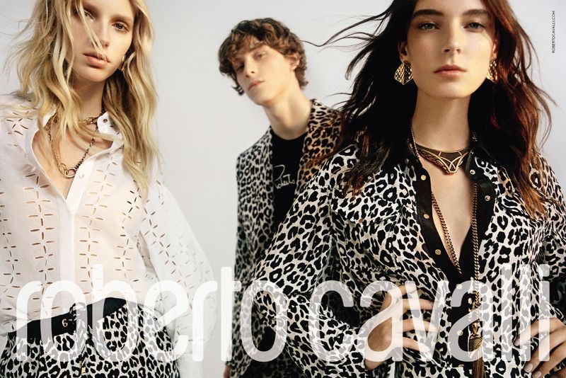 Jessie Bloemendaal, Serge Sergeev, and Ansley Gulielmi front Roberto Cavalli's spring-summer 2020 campaign.