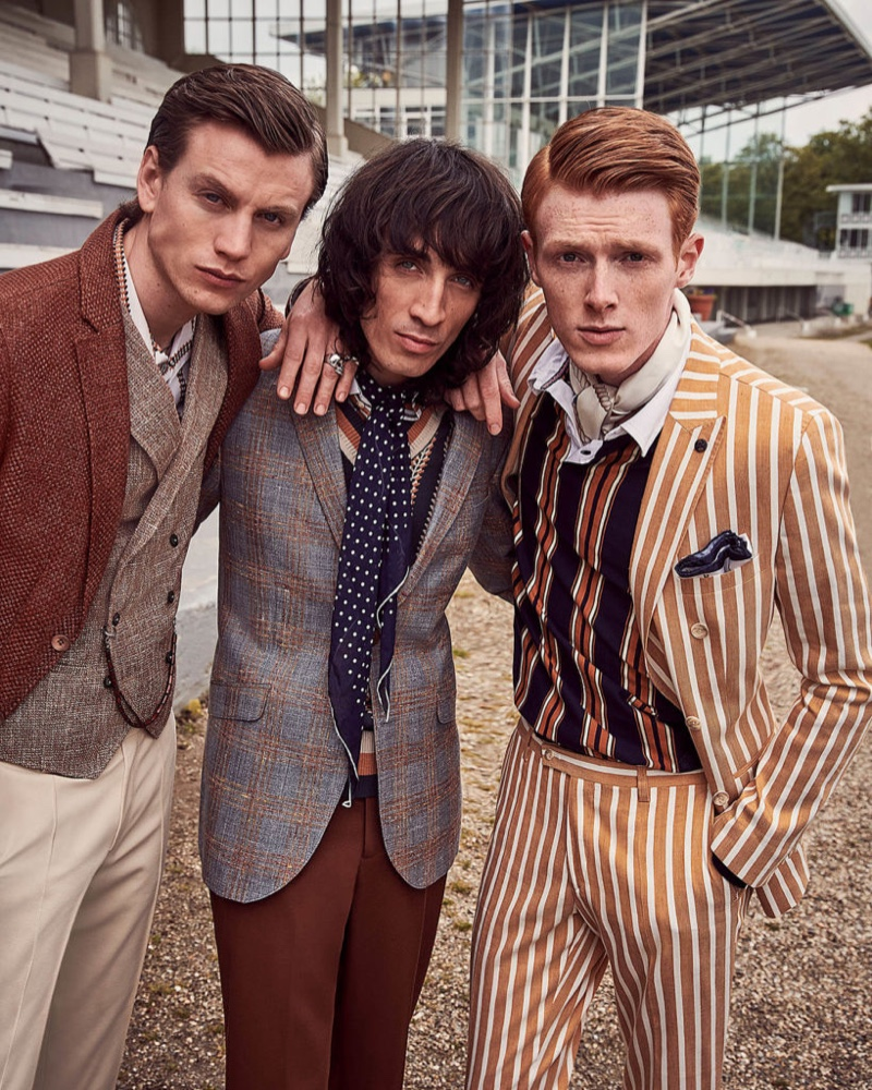 Sid Ellisdon, Juan Milan, and Linus Wordemann suit up in impeccable numbers from Savile Row by CG.