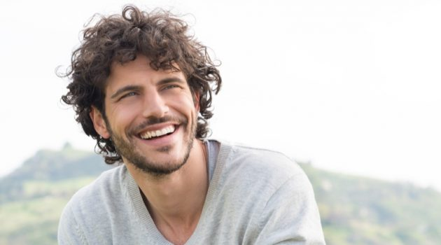 Smiling Attractive Man Outdoors Grey Sweater
