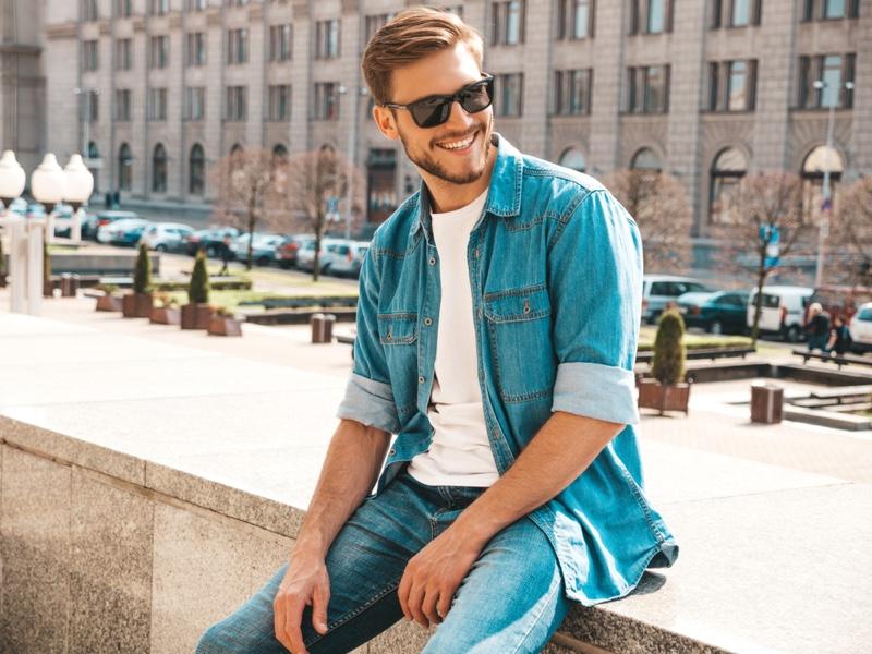 Smiling Male Model Denim Jacket Jeans Sunglasses