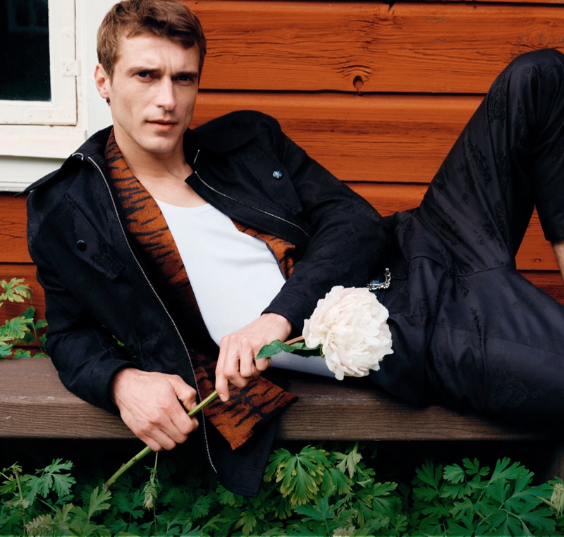 French model Clément Chabernaud appears in Tiger of Sweden's spring-summer 2020 campaign.