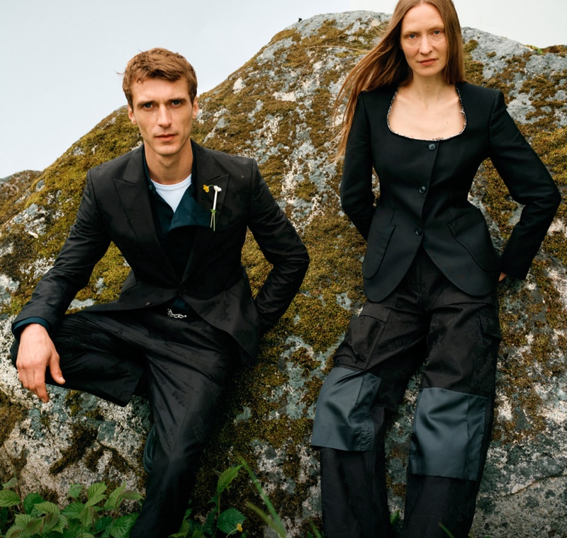 Models Clément Chabernaud and Erika Wall front Tiger of Sweden's spring-summer 2020 campaign.