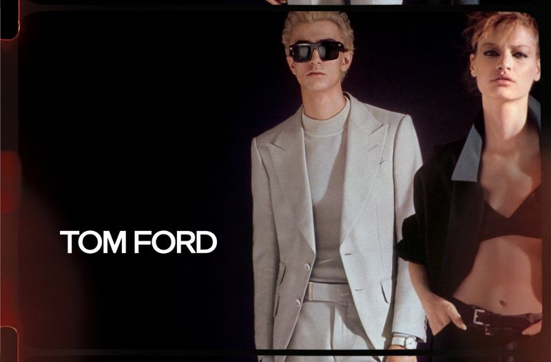 Models Gena Malinin and Faretta come together for Tom Ford's spring-summer 2020 campaign.