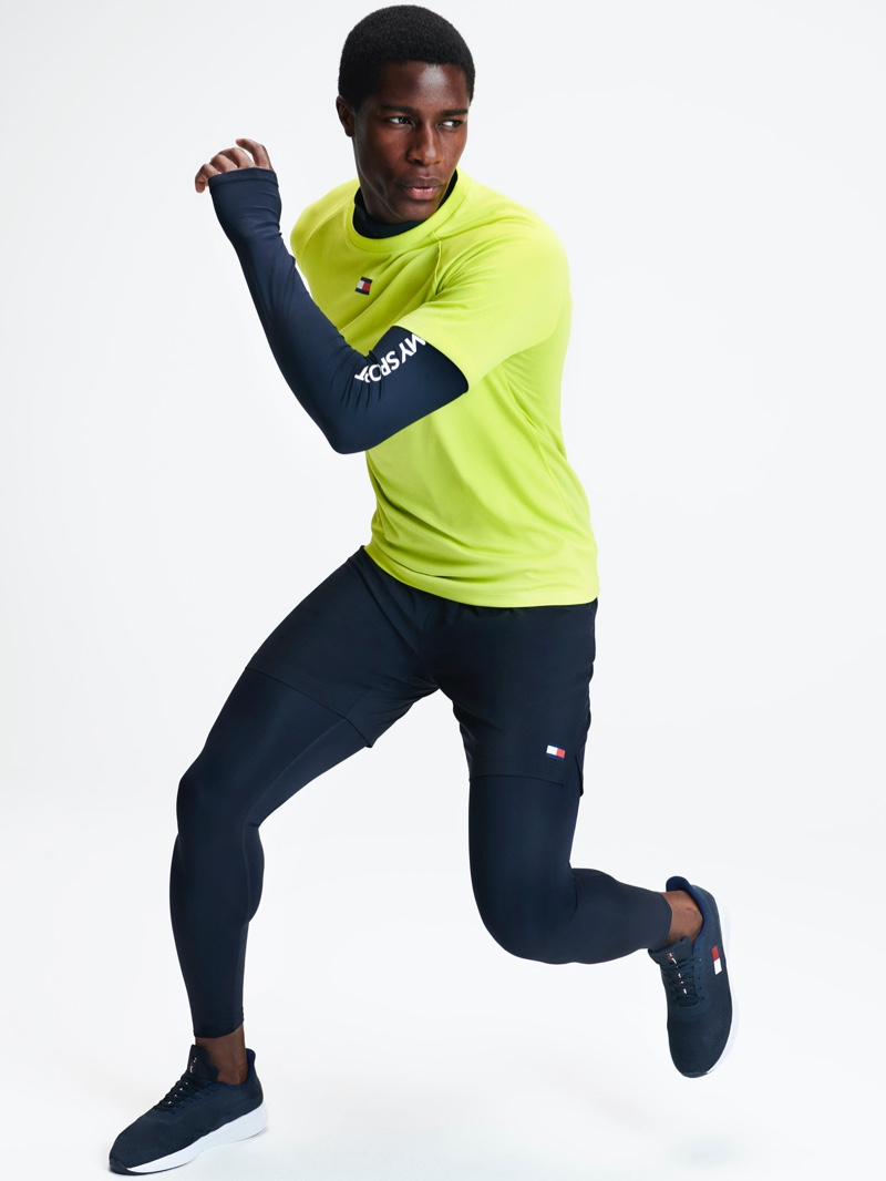 Embracing an active flair, James Kakonge wears a look from Tommy Sports' spring-summer 2020 collection.
