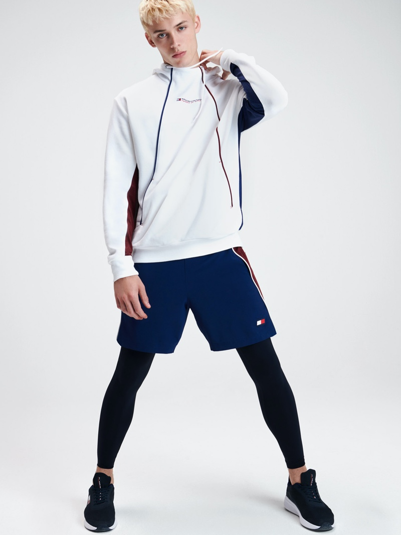 Front and center, João Knorr embraces an active attitude in Tommy Sport for spring-summer 2020.