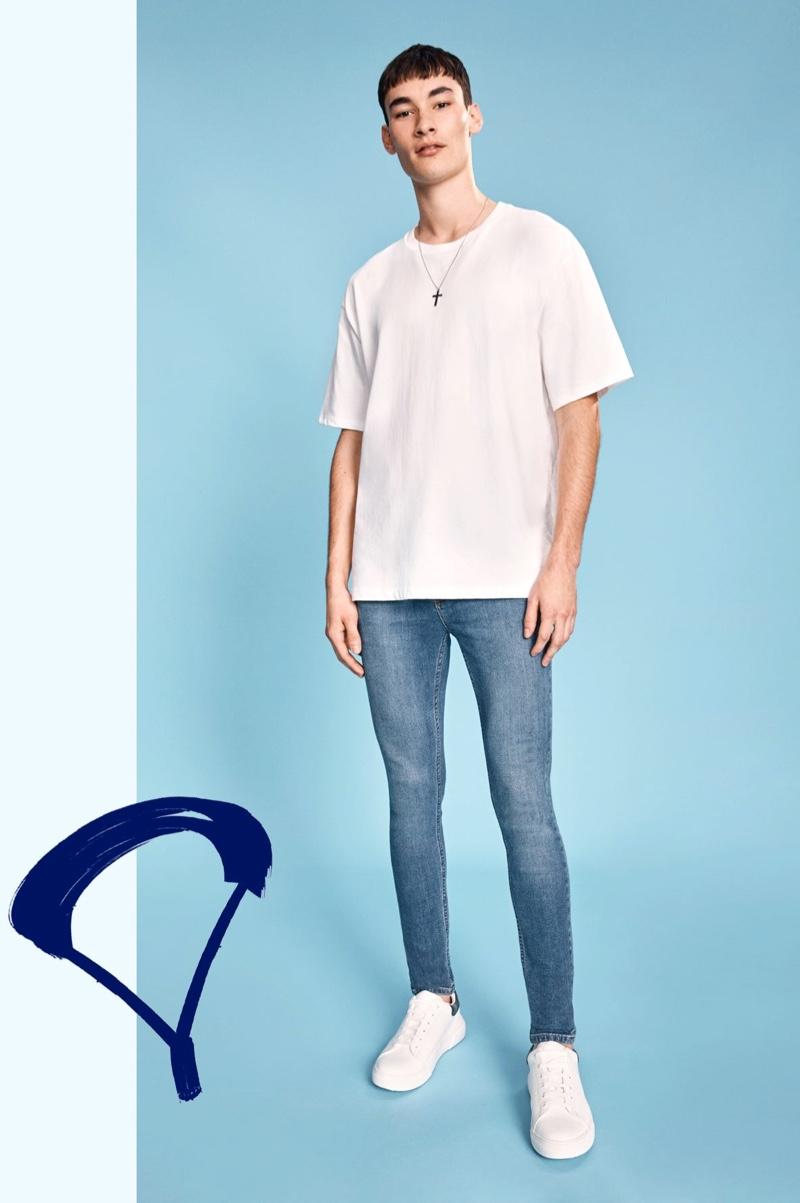 Dylan Li-Lagain dons super spray on jeans for Topman's denim campaign.