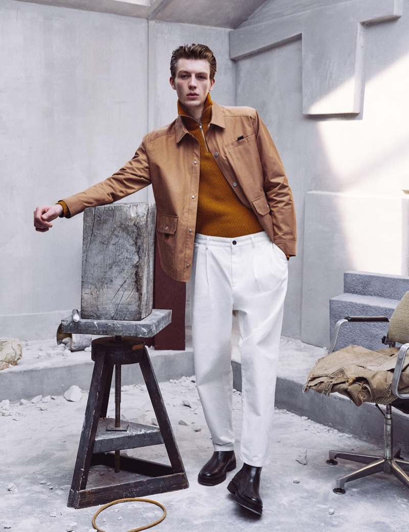 Finnlay Davis wears a look from Zara's Chillida collection.