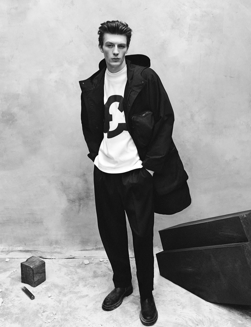 Sporting black and white, Finnlay Davis dons fashions from Zara's Chillida collection.