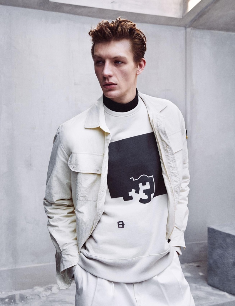 Making a case for monochrome style, Finnlay Davis wears an ensemble from Zara's Chillida collection.