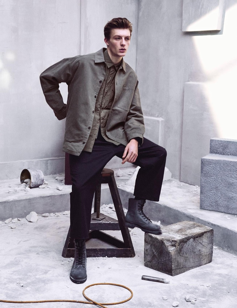 An oversized silhouette is front and center as Finnlay Davis wears pieces from Zara's Chillida collection.