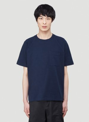 Acne Studios Emeril Woven Logo T-Shirt in Blue size L