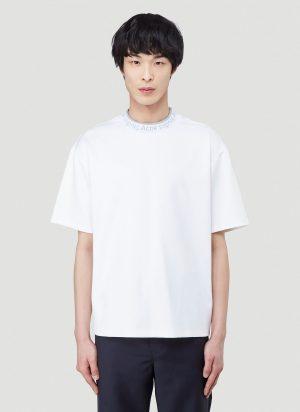 Acne Studios Logo Collar T-Shirt in White size XL