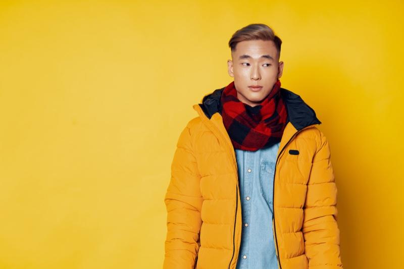 Asian Male Model Yellow Puffer Jacket Plaid Scarf