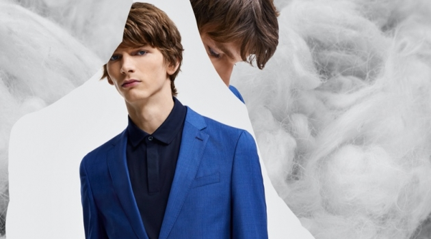 Model Erik Van Gils sports a dashing blue suit from BOSS' Responsible Tailoring collection.