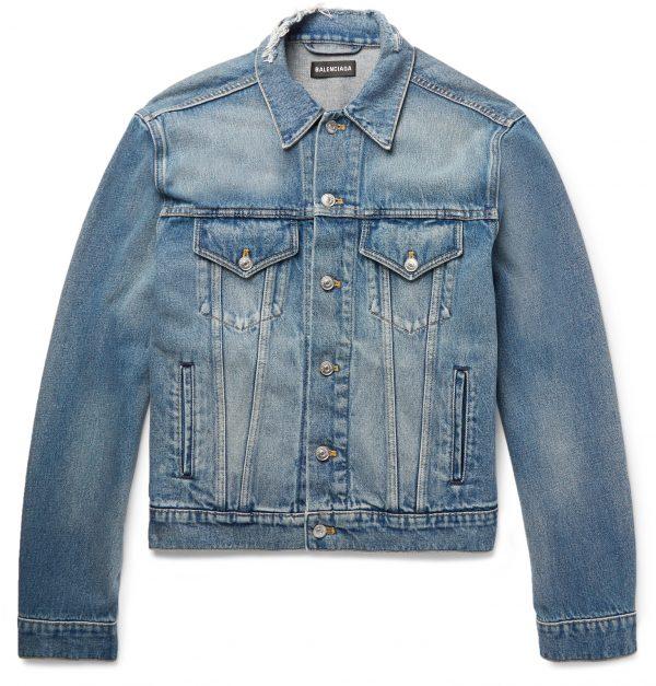 Balenciaga - Cropped Embroidered Distressed Denim Jacket - Men - Blue