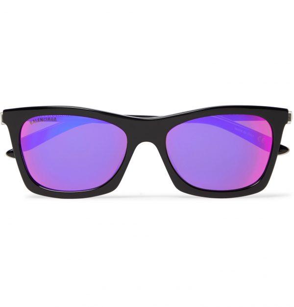 Balenciaga - D-Frame Acetate and Silver-Tone Mirrored Sunglasses - Men - Black