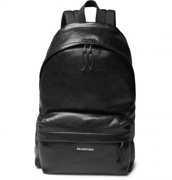 Balenciaga - Explorer Arena Logo-Print Creased-Leather Backpack - Men - Black