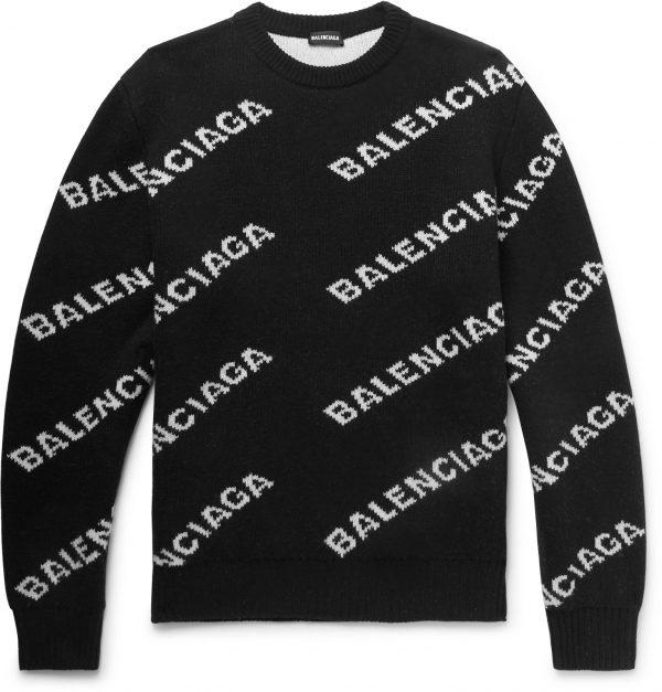 Balenciaga - Logo-Intarsia Virgin Wool-Blend Sweater - Men - Black