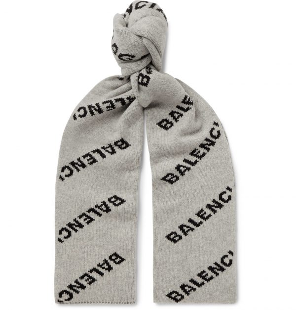 Balenciaga - Logo-Jacquard Virgin Wool and Camel Hair-Blend Scarf - Men - Gray