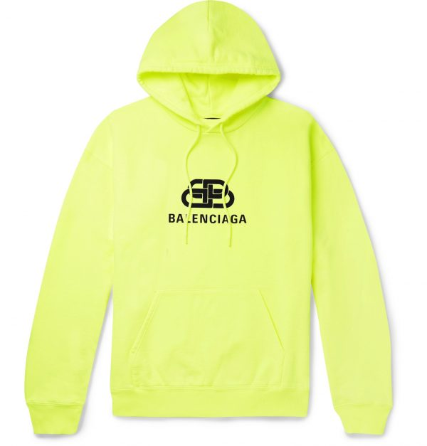 Balenciaga - Oversized Logo-Print Washed Loopback Cotton-Jersey Hoodie - Men - Yellow