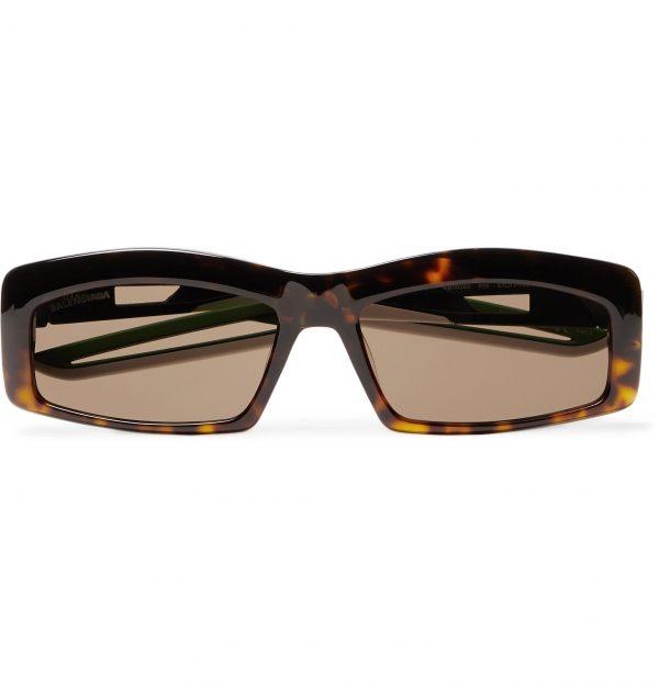 Balenciaga - Rectangle-Frame Tortoiseshell Acetate Sunglasses - Men - Tortoiseshell