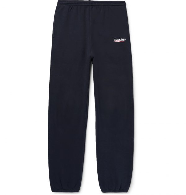 Balenciaga - Tapered Logo-Print Fleece-Back Cotton-Blend Jersey Sweatpants - Men - Blue