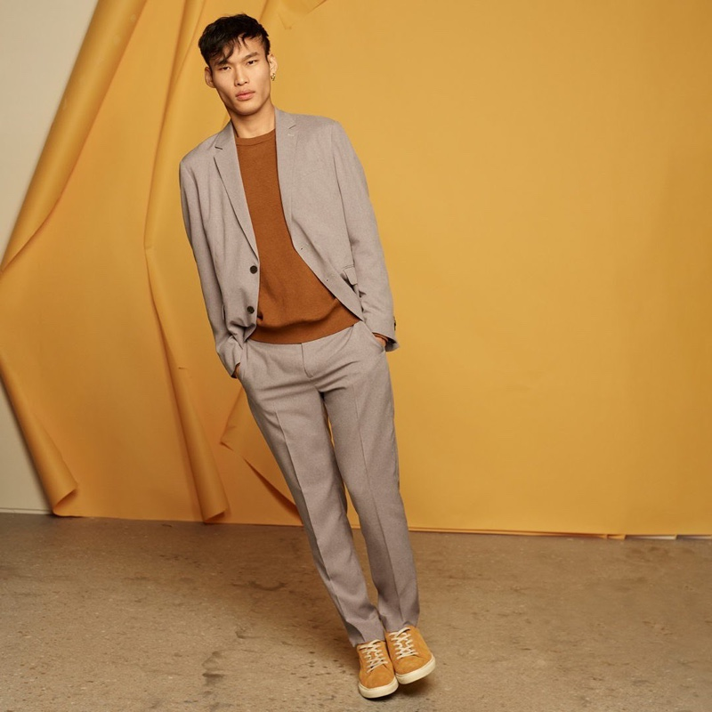 Chun Soot dons a smart suit from Banana Republic's spring lineup.