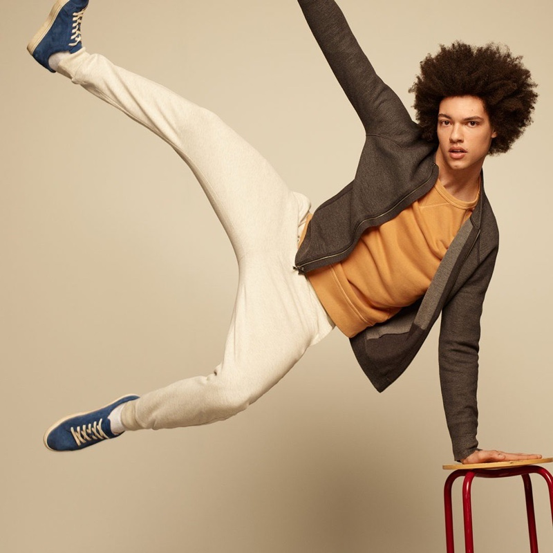Making a case for sporty, relaxed style, Gabriel Gomieri wears joggers with a sweatshirt and jacket by Banana Republic.