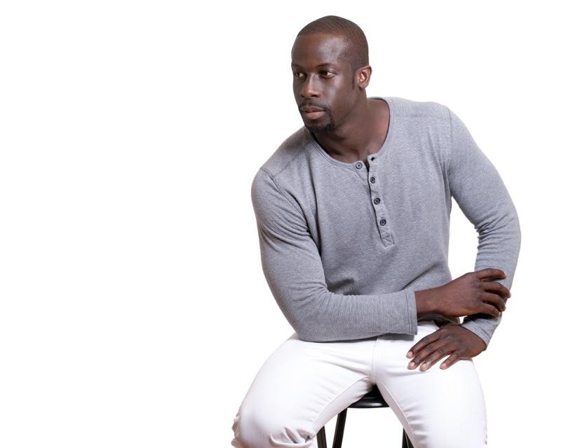 Black Man Grey Henley Shirt White Jeans