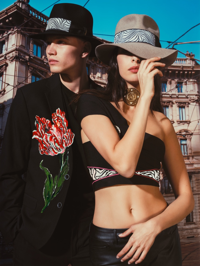 Models Jerry Koivisto and May Tager appear in Borsalino's spring-summer 2020 campaign.