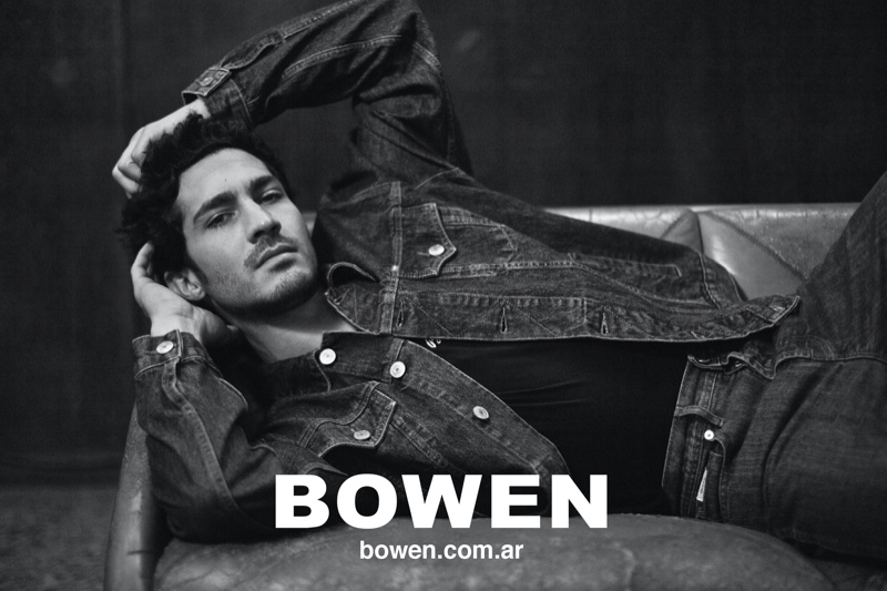 Doubling down on denim in a jacket and pair of jeans, Chino Darin fronts Bowen's fall-winter 2020 campaign.