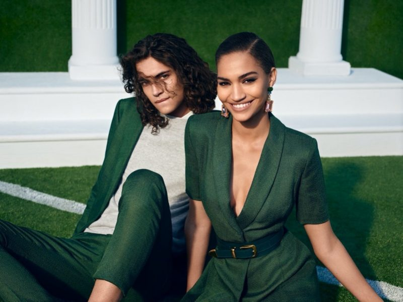 Donning green looks, Jack Pililaau and Anyelina Rosa couple up for Brandon Maxwell's spring-summer 2020 campaign.