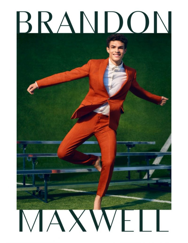 All smiles, Noah Luis Brown dons a colorful suit for Brandon Maxwell's  spring-summer 2020 campaign.