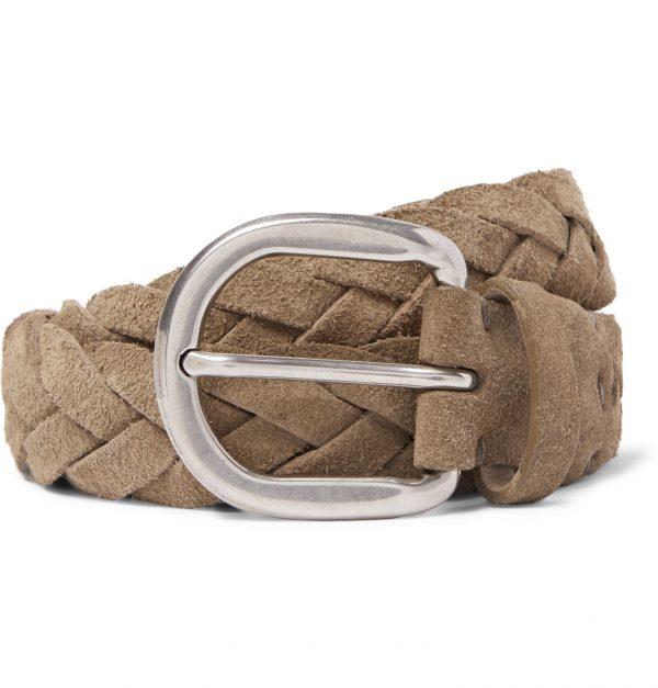 Brunello Cucinelli - 3.5cm Beige Woven Suede Belt - Men - Neutrals