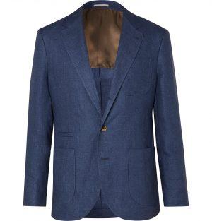 Brunello Cucinelli - Blue Unstructured Linen Blazer - Men - Blue