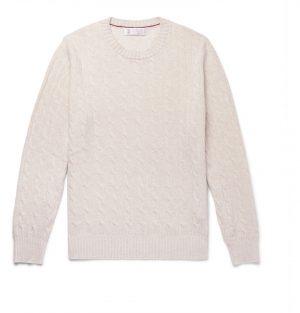 Brunello Cucinelli - Cable-Knit Cashmere Sweater - Men - Neutrals