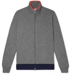 Brunello Cucinelli - Contrast-Tipped Cashmere Zip-Up Sweater - Men - Gray