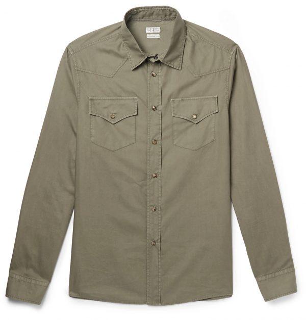 Brunello Cucinelli - Cotton Western Shirt - Men - Green