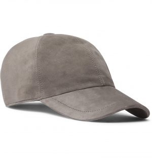 Brunello Cucinelli - Leather-Trimmed Suede Baseball Cap - Men - Gray