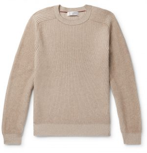 Brunello Cucinelli - Ribbed Cashmere Sweater - Men - Neutrals
