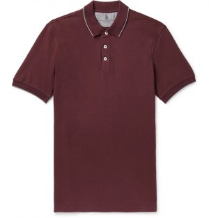 Brunello Cucinelli - Slim-Fit Contrast-Tipped Cotton-Jersey Polo Shirt - Men - Burgundy