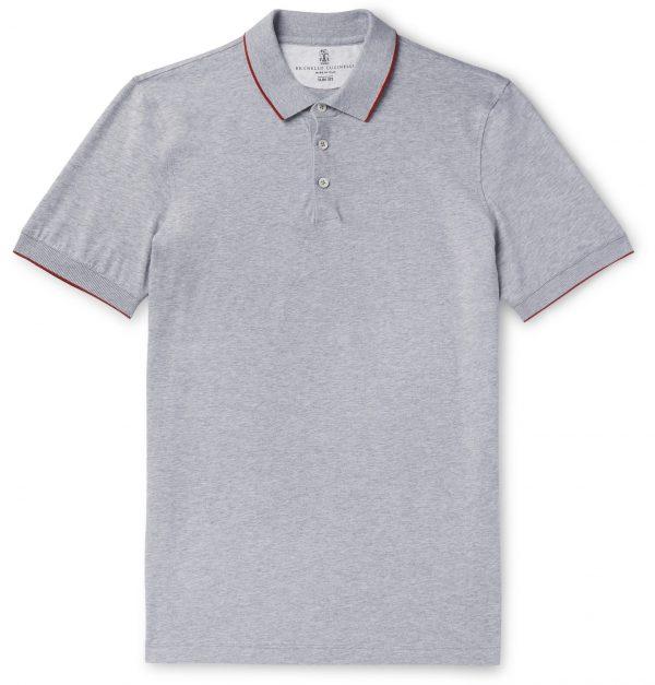 Brunello Cucinelli - Slim-Fit Contrast-Tipped Cotton-Piqué Polo Shirt - Men - Gray